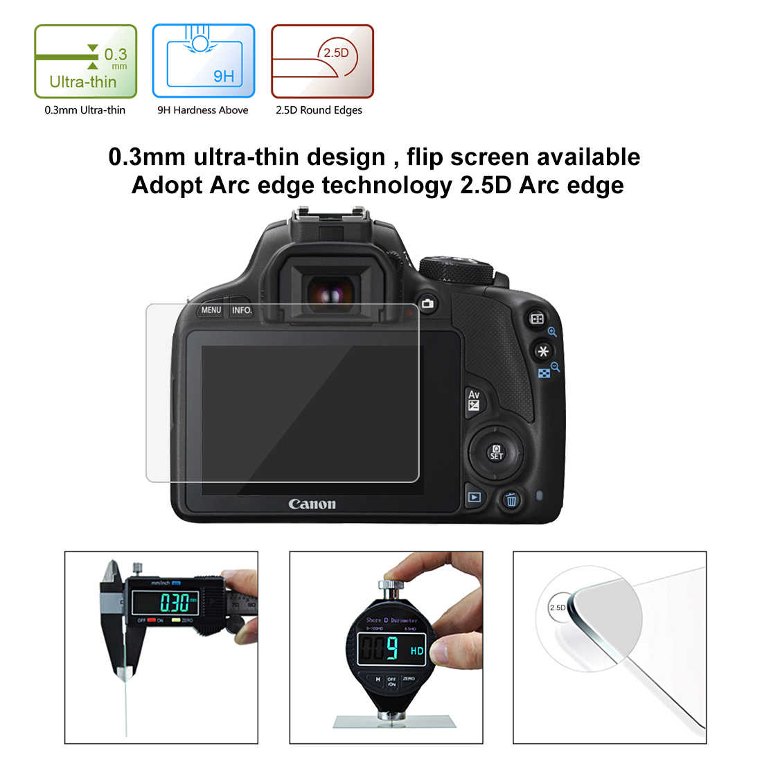 С уровнем твердости 9 H однообъективных цифровых зеркальных фотокамер и записывающих Камера ЖК-дисплей закаленное Стекло для цифровой однообъективной зеркальной камеры Canon EOS M3 M5 M10 100D Rebel SL1/Kiss X7 PowerShot G1X Mark II G1X2 Экран протектор-@