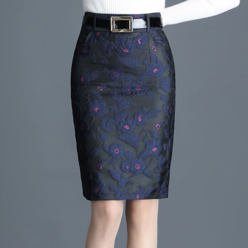 Spring Fall Female Womens High Waisted Dobby Floral Pattern Placket Pencil Skirt , Woman Office Ladies Blue Knee Length Skirts image