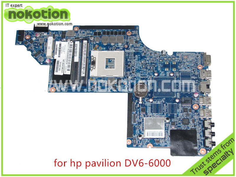 NOKOTION PN 705194-001 707432-001 For HP pavilion DV6 DV6-6000 Series laptop motherboard Intel HD Graphics HM65 DDR3 633554 001 main board for hp pavilion dv6 4000 dv6 3000 laptop motherboard ati graphics ddr3 hm65 da0lx3mb8f0