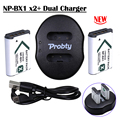 NP BX1 Bateria NP-BX1 npbx1 batteries x2 +New usb dual charger for Sony HDR-AS100v AS30 AS200v AS20 DSC-RX100 HX400 WX350 Camera