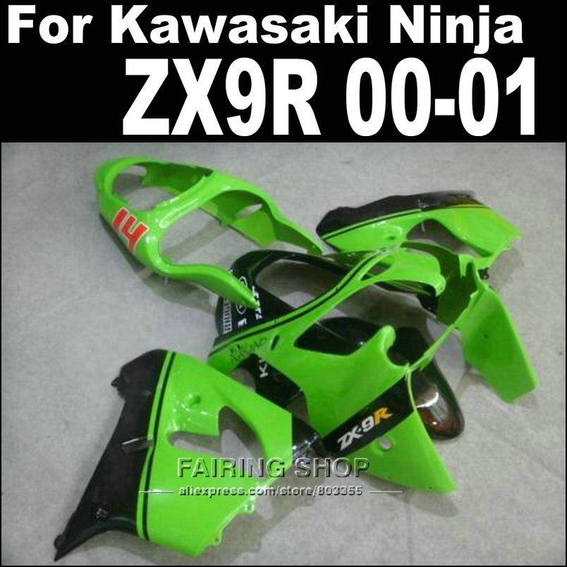 Body work kits zx9r fairings For Kawasaki Ninja 2000 2001 / 00 01 ( Green black lines ) High qualityt Fairings +Custom free xl15