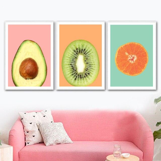 Kiwi Avocado Orange Fruit Wall Art
