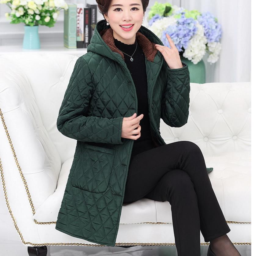 women  basic jackets coat women's wadded jacket the middle-age winter outerwear hooded thickening mother clothing coat  10999