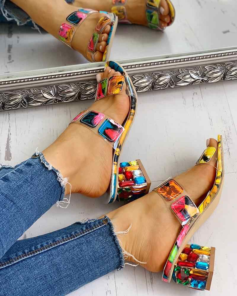 2020 büyük boy 41 moda bayan terlik kristal kare topuklu yaz kadın ayakkabısı kadın sandalet eğlence kadın terlik ayakkabı kadın