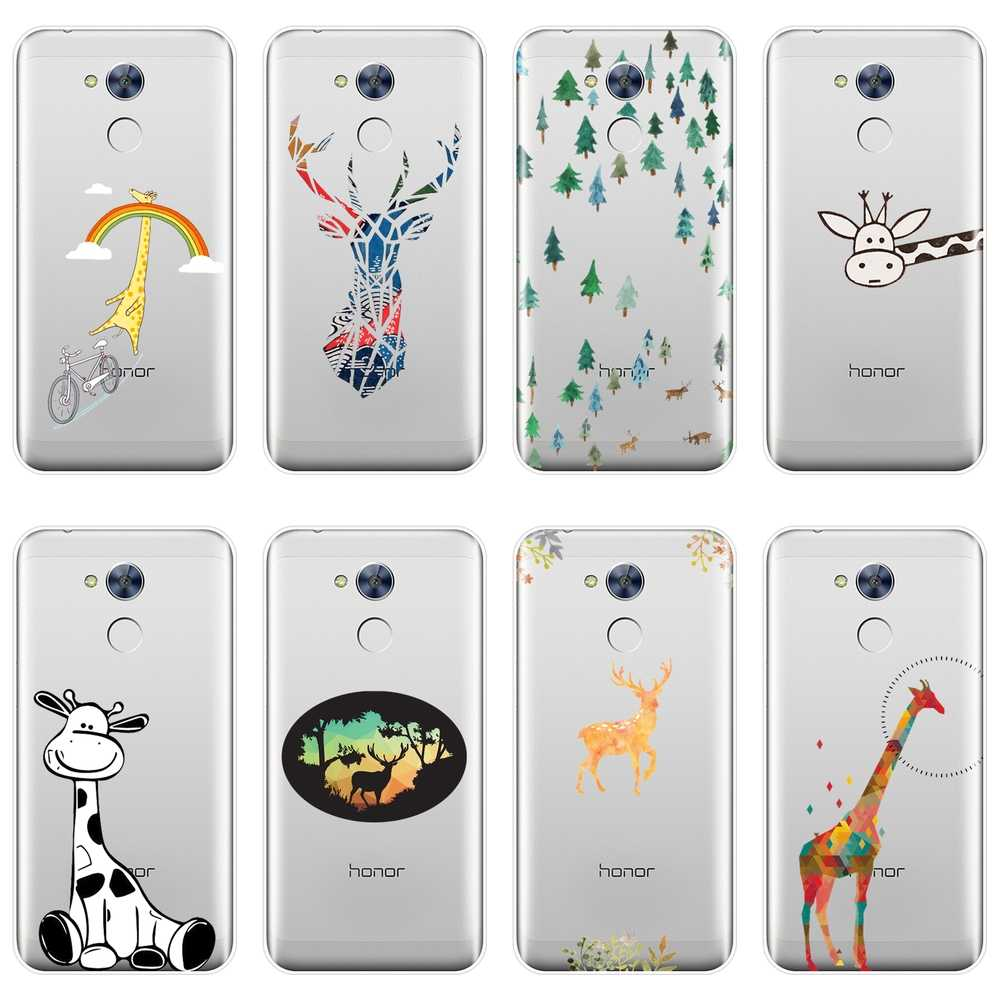 For Huawei Honor 4X 5A 5X 6 6X Case Silicone Soft Funny Cute Deer Giraffe Back Cover For Huawei Honor 4C 5C 6C 6A Pro Phone Case
