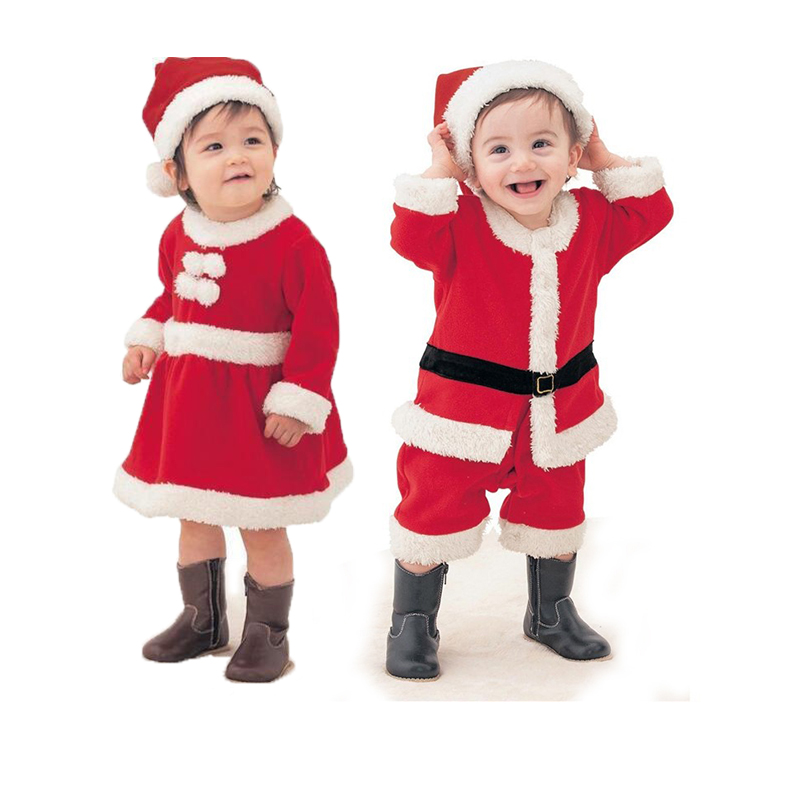 78278805cf3d3 Red Christmas New Year's Costumes for Boys Girls 2pcs Baby Girls Clothes  Set Santa Claus Dress Hat Suit for The New Year Gift