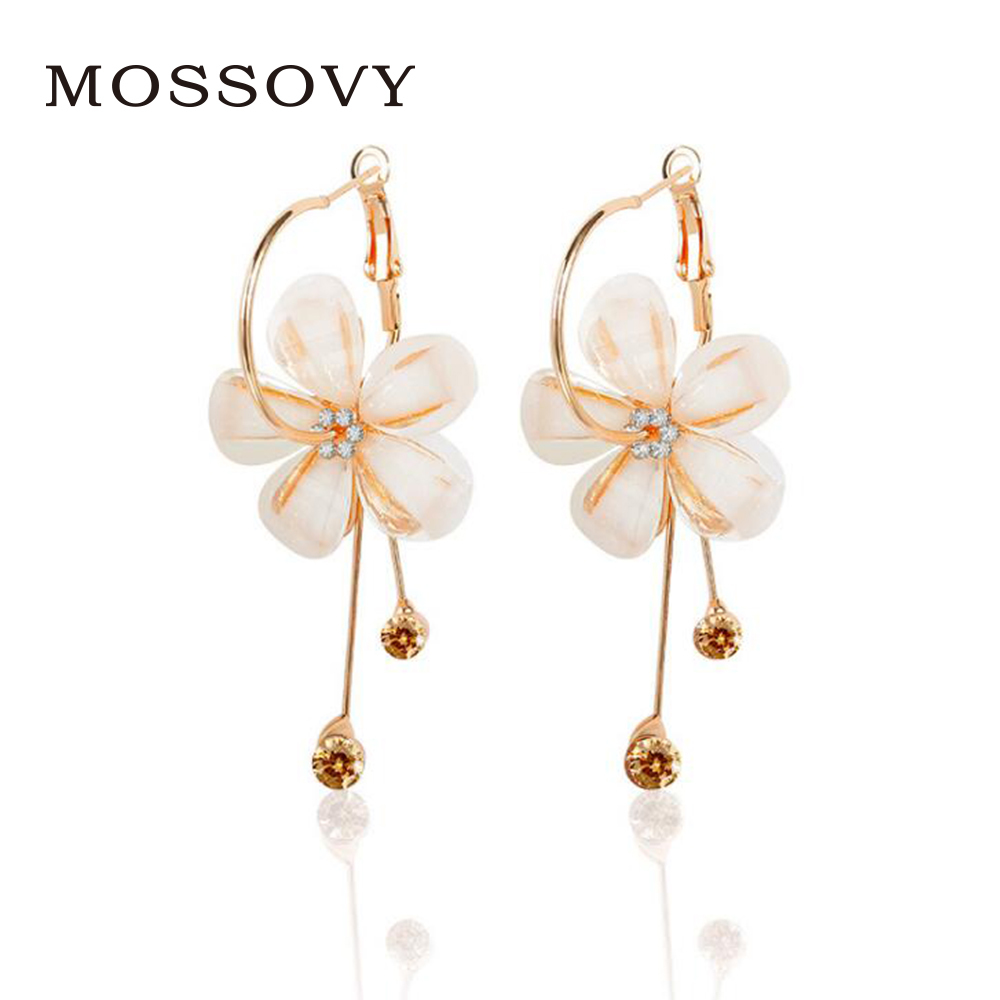 Mossovy New Blake Lively Charms Five-petaled Flowers Long Earrings Rhinestone Ear Ring Earring Gift Jewelry for Women