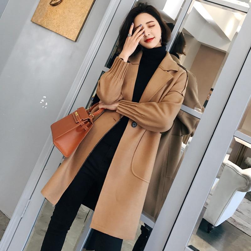 Moyen Femmes Manteau down camel Hiver Vent Long rose 2018 Beige Turn De Mode Style Laine Automne Et Col Nouveau q5tdw6xggT