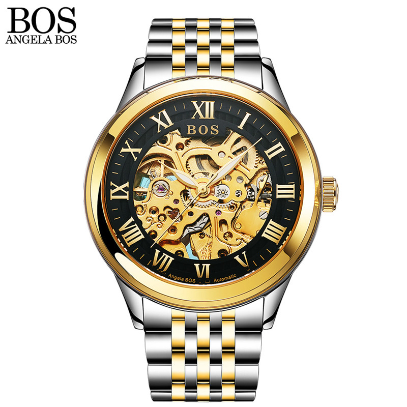 ANGELA BOS Business Watch Men Mechanical Automatic Stainless Steel Skeleton Mens Watches Top Brand Luxury Waterproof Wrist Watch mce automatic watches luxury brand mens stainless steel self wind skeleton mechanical watch fashion casual wrist watches for men