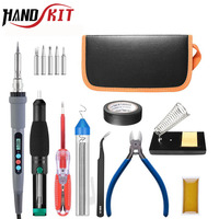 Handskit 90W 220V Digital Soldering Iron Electric Soldering Gun with Wire Stripper Soldering Iron  +5 pcs Soldering Tips Tools