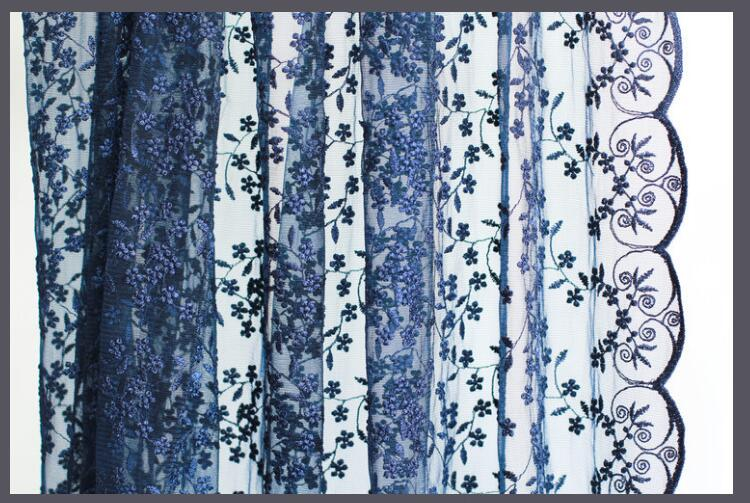 Navy Blue Embroidery Lace Fabric Wedding Lace Fabric Gauze Tulle Bridal Lace Wedding Stage Background 47 inches Wide in Fabric from Home Garden
