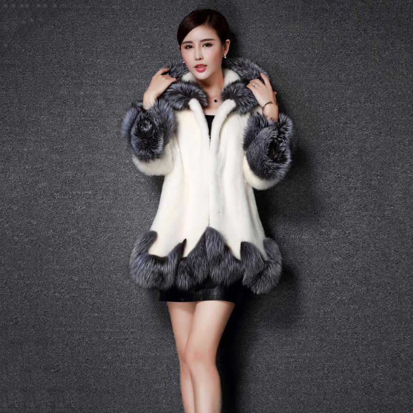 98f00b30b Fluffy Faux Fur Coat Women Furry Fake Fur Outerwear Autumn Winter Coat  Jacket Patchwork Fur Thick