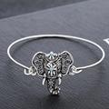 Vintage Bohemian Antique Silver Plated Hollow Elephant Design Cuff Bracelets Bangles Women Indian Jewelry bracelet manchette