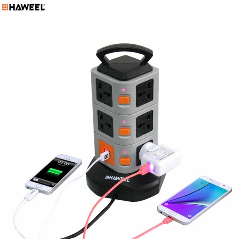 HAWEEL USB Bande de Puissance Prise Murale 11 UE/US Plug 2 USB Ports avec Interrupteur 1.8 M Rallonge Sortie Panneau 2500 W adaptateur