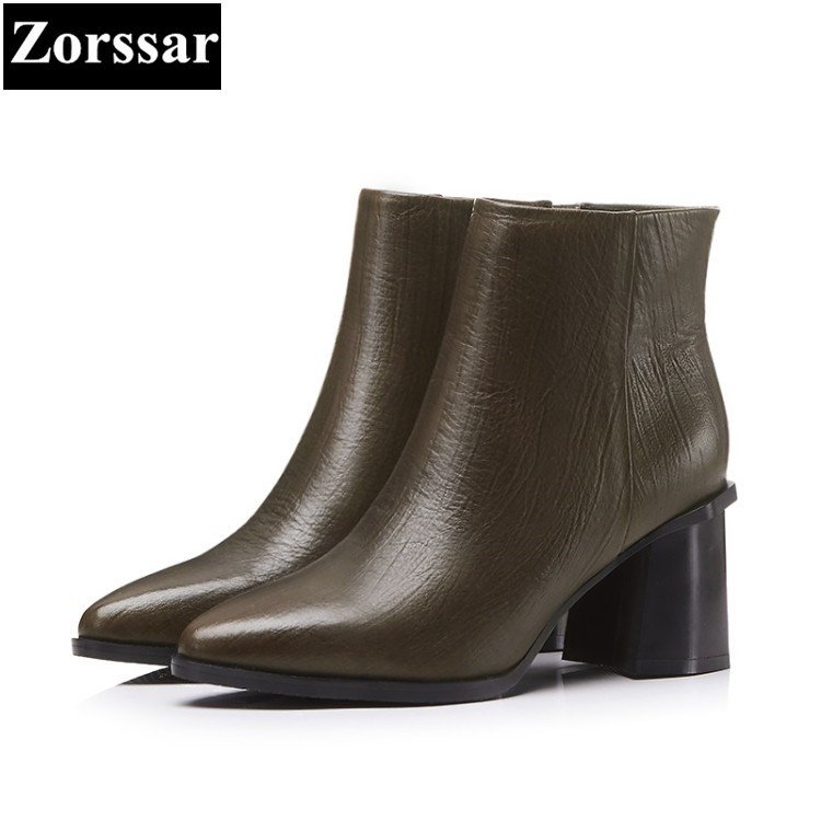 {Zorssar} 2018 NEW Large size Women Boots Thick heel pointed Toe High heels ankle Riding boots Cow leather womens shoes winter zorssar brands 2018 new arrival fashion women shoes thick heel zipper ankle chelsea boots square toe high heels womens boots