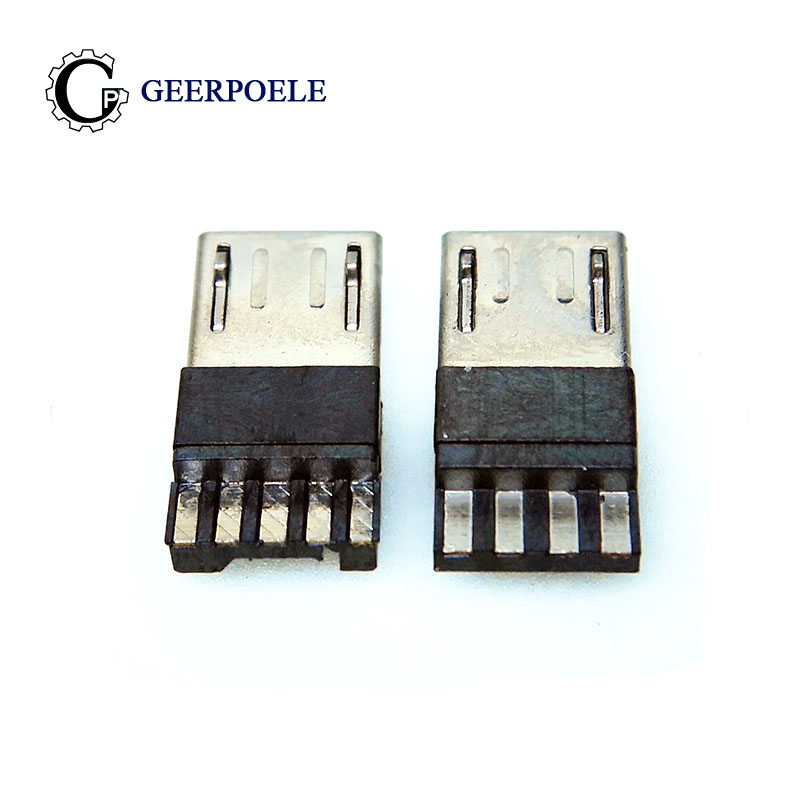 <font><b>20</b></font> pcs/lot <font><b>4</b></font> <font><b>Pin</b></font>/5 <font><b>Pin</b></font> Micro USB Jack USB Plug Male Connector Port Jack Tail Sockect Plug Terminals For Samsung Huawei DIY image