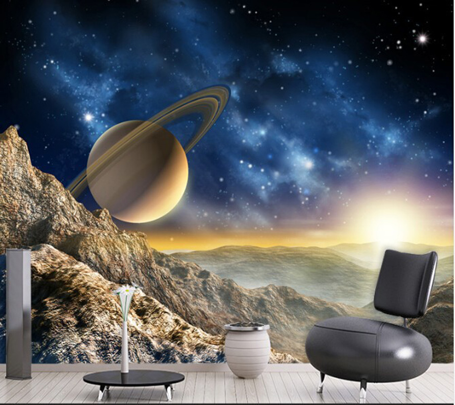 Custom home decoration wallpaper, starry planet murals for the living room bedroom sofa ceiling wallpaper papel de parede 3D custom 3d stereo ceiling mural wallpaper beautiful starry sky landscape fresco hotel living room ceiling wallpaper home decor 3d