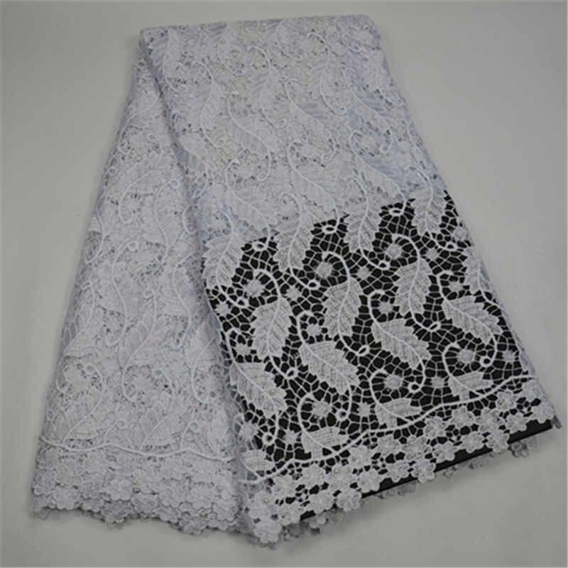 Tissus de dentelle africaine guipure dernière conception aqua cordon dentelle tissu handcut tissu avec trou bon vente tissu - 4