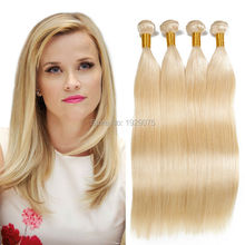 Blonde Virgin Hair Weave Brazilian Human Hair Bundles Extensions Platinum Blonde Hair 100% Straight Human Hair Weave Bundles