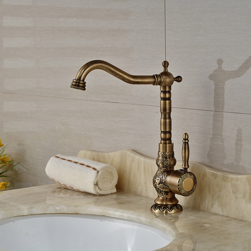 Antique Brass Basin Faucet Longnose Spout Flower Carved Single Handle Mixer Tap 360 Rotation Bathroom Faucet  KD1182Antique Brass Basin Faucet Longnose Spout Flower Carved Single Handle Mixer Tap 360 Rotation Bathroom Faucet  KD1182