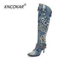 KNCOKAR New Blue Denim Water Wash Knee High Stiletto Heels Pumps Cowboy Women's Shoes High Heels Jean Knight Boots