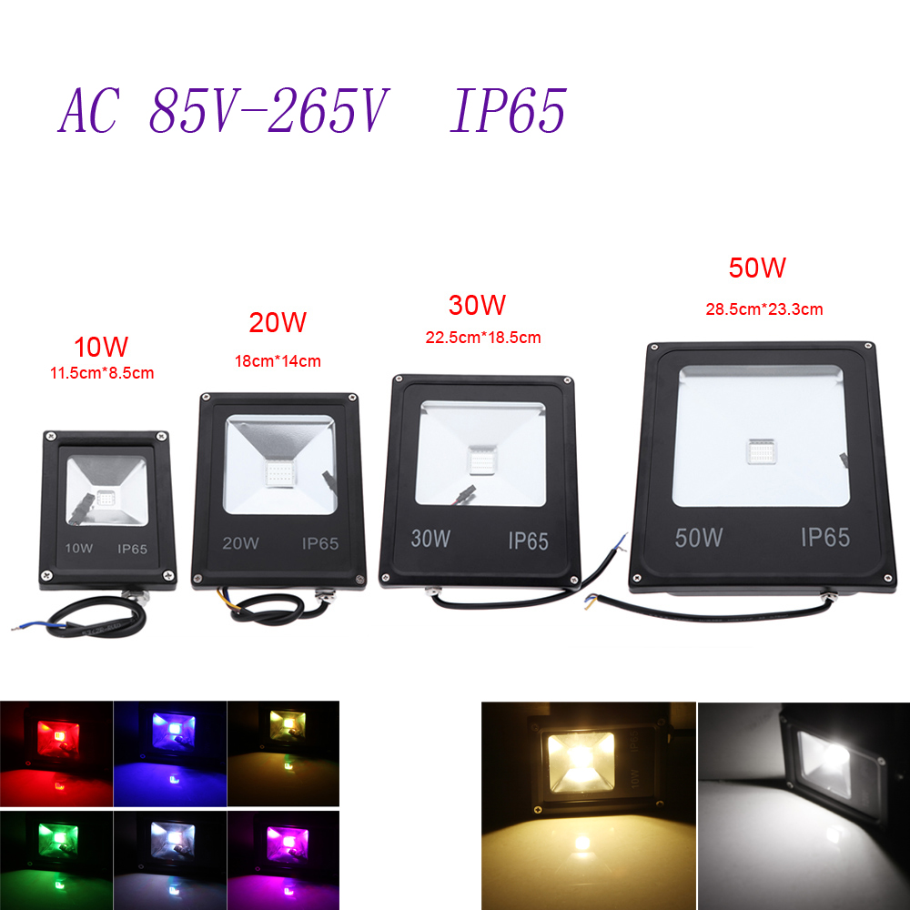 1pcs Outdoor lighting RGB Led Spotlight 10W 20W 30W 50W Led Floodlight Waterproof AC85-265V Led Flood light Waterproof Led lamp