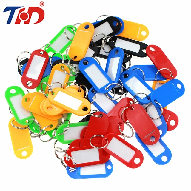 US $6 62 28% OFF|THD 50pcs Best Colorful Plastic Key Tags Metal Ring Hotel  Numbered Luggage ID Card Name Label Keychain With Split Ring-in Badge