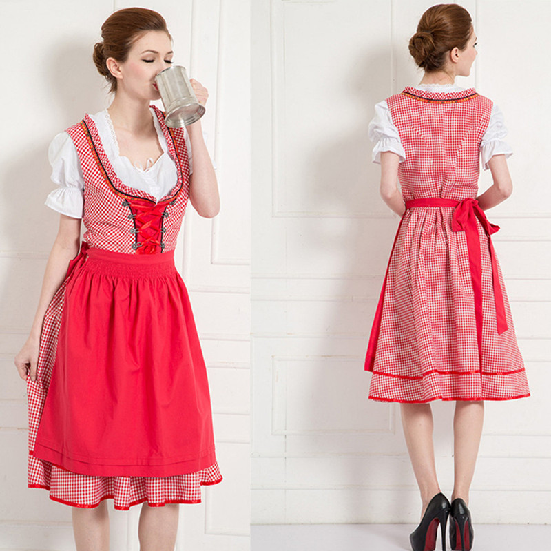 2019 Hot Sexy Red Lattice Beer Maid Costume Girl