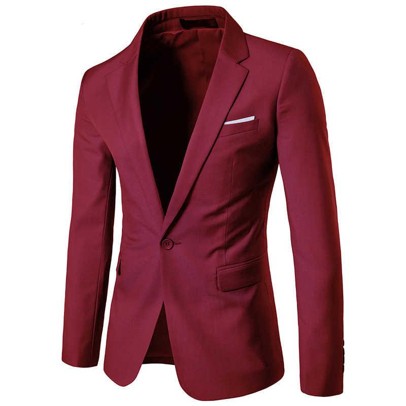 9 色/2019 メンズファッションブティック無地正式なビジネススーツのジャケット/新郎と付添人の結婚式はメンズブレザー