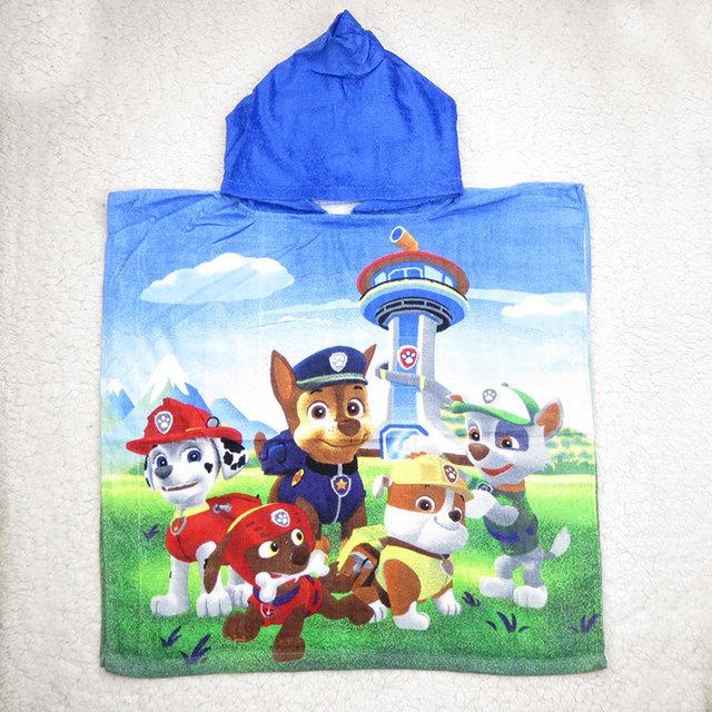 2016 de dibujos animados pata perros Toallas 100% algodón toalla de baño 120*60 cm kids perros de patrulla whit sombreros Albornoz para childen