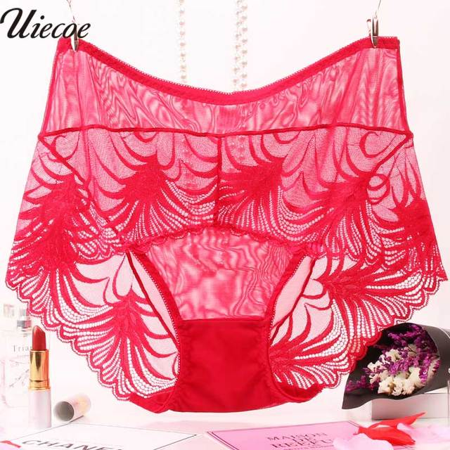 09bc94f6c90 UIECOE Women underwear briefs sexy women s Panties full transparent lace  seamless string Super plus size women panty 2XL-4XL