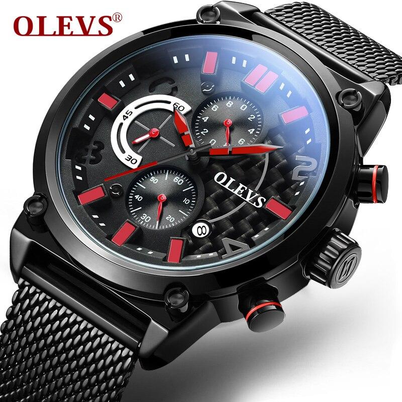 Fashion Military Watch OLEVS 6818 Calendar Watches Men Brand Luxury Stainless Steel Quartz Watch Chronograph Sport