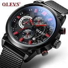 Mode Militaire Montre OLEVS 6818 Calendrier Montres Hommes Marque De Luxe En Acier Inoxydable Quartz Montre Chronographe-Bracelet de Sport