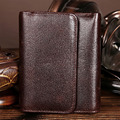 Men Oil Wax Genuine Leather Wallet Famous Brand Pocket Case Coin Card Holder Short Purse High Quality Vintage Mini Money Bag