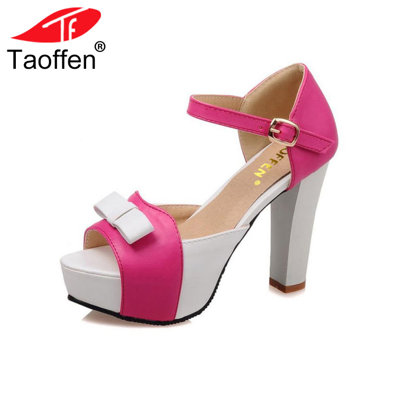 TAOFFEN Women High Heel Sandals Fashion Bowtie Open Toe Platform Shoes Wmoan Thick Heeled Ladies Footwear Size 34-43 PA00769 2016 package with high heeled sandals women s shoes formal platform thick heel open toe shoe 40 43 plus size women s small yards