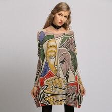 Xikoi lã oversized camisola para as mulheres inverno quente longo pulôver vestidos moda impressão jumper casual malha blusas puxar femme