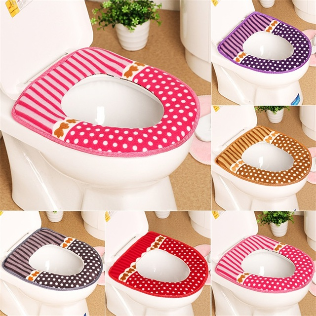 1PC Fashion Toilet Seat Cover Warmer Fleece Thick Soft Comfortable Baby Potty Seats Case Overcoat Toilet Case Bathroom Accessory