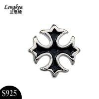 Free Shipping Fashion Personality Black Cross Stud Earrings 925 Sterling Silver Jewelry Boys Cool Accessories Boyfriend