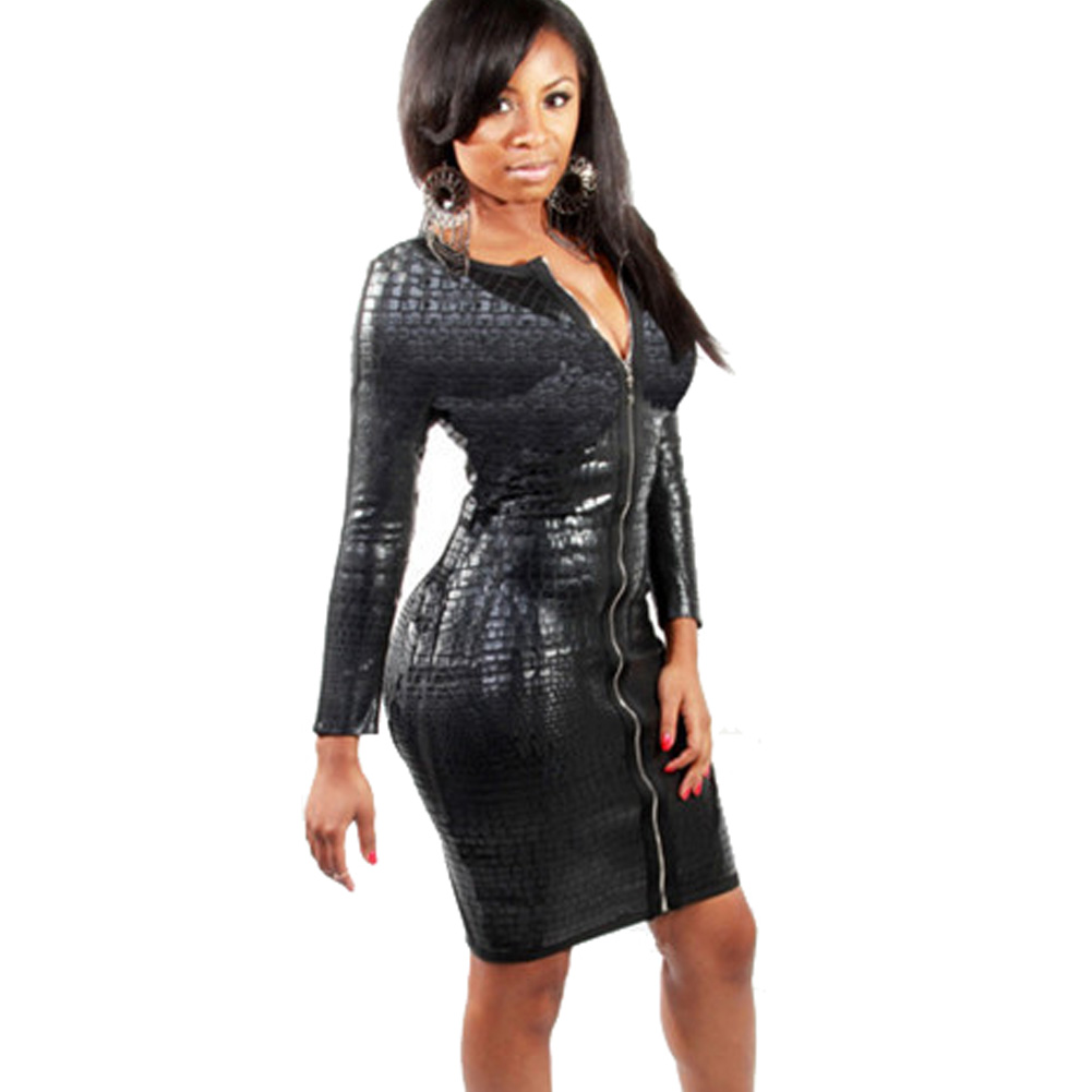 32f63d30e7 US $12.63 20% OFF|Plus Size Night Clubwear Pole Dance Club Dress Winter  Long Sleeve Front Zipper Snake Shaped Leather Slim Bodycon Dresses-in  Dresses ...