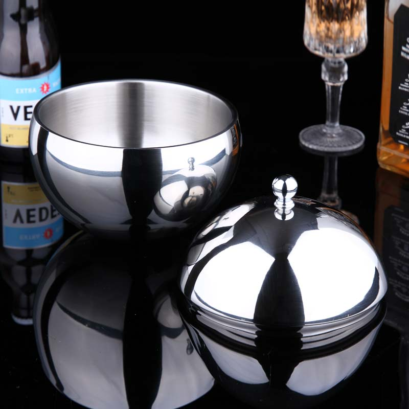 Stainless Steel Double Wall Ice Bucket With Lid Particles Double insulation bucket Ice With tong