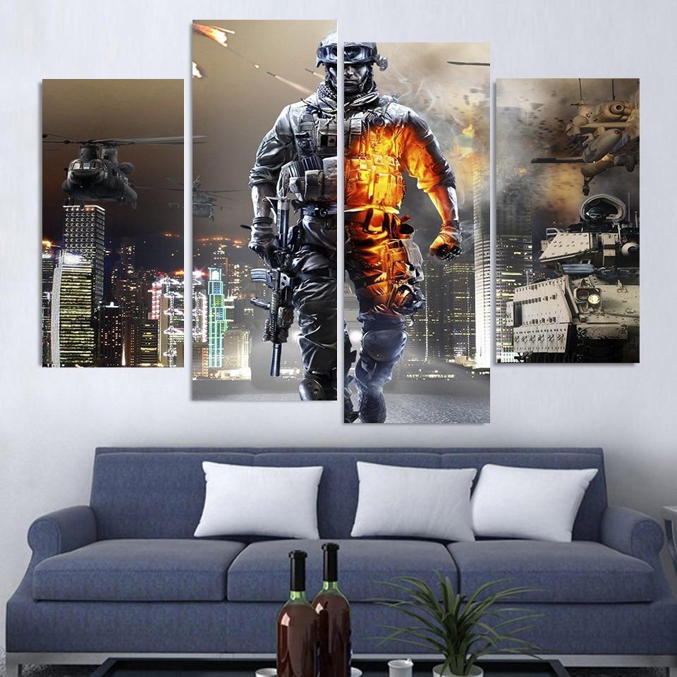4 unids/set enmarcado HD impreso Battlefield Militar película de ...