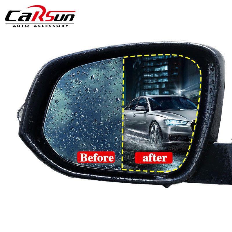 CARSUN 2Pcs Car Sticker Rainproof Car Stickers Rearview Mirror Film Sticker Anti-fog Protective Film Rain Shield For Audi A3