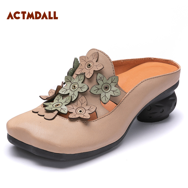 2018 summer vintage leather handmade outside slipper women round head hollow out sandals thick heel fashionable women s sandals with platform and hollow out design