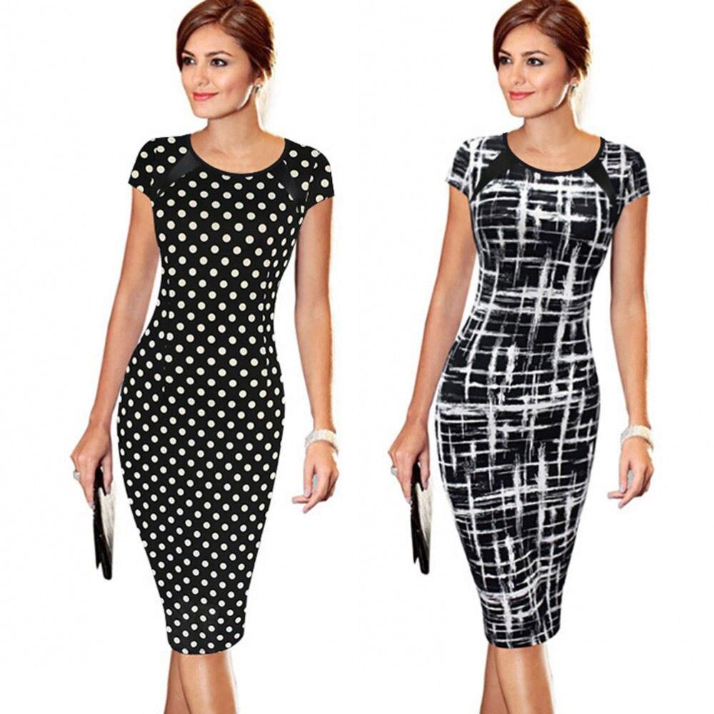 fb216b1c857 Moda Dot mujeres vestido Celeb estilo Casual carrera negocios vaina vestido  señoras Patchwork lápiz cremallera vestidos de fiesta de lujo en Vestidos  de ...