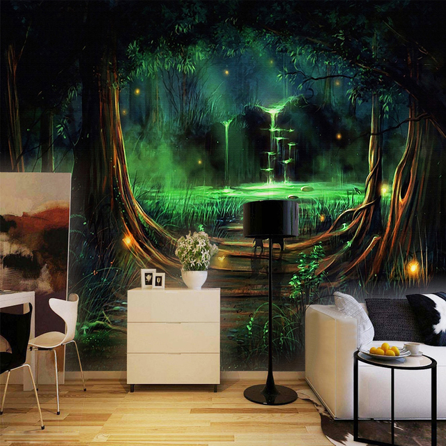 wand home decor benutzerdefinierte fototapete 3d abstrakte wald wasserfall tier kinderzimmer. Black Bedroom Furniture Sets. Home Design Ideas