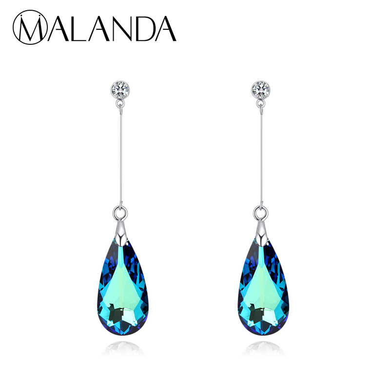 MALANDA Original Crystal From SWAROVSKI Water Drop Earrings For Women Earrings Fashion Long Dangle Earrings Wedding Jewelry Gift 1 pair water drop shape opal crystal earrings dangle earrings gem stone jewelry druzy er307