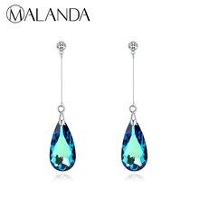 MALANDA Original Crystal From SWAROVSKI Water Drop Earrings For Women Earrings Fashion Long Dangle Earrings Wedding Jewelry Gift