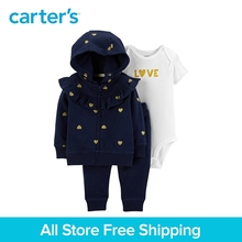 3pcs love slogan bodysuit cotton pants hearts print Ruffle jacket set Carter's baby girl spring autumn clothing 121I880