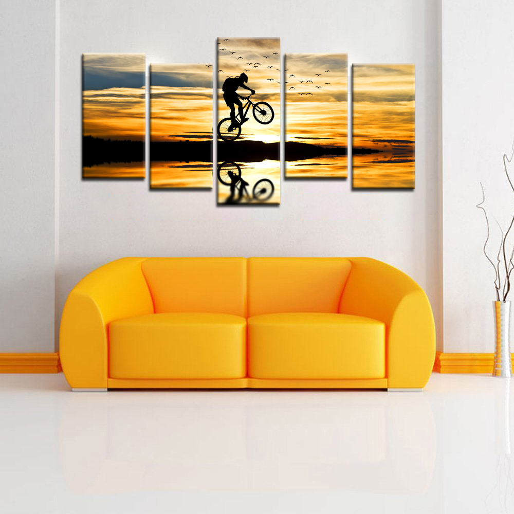 5 Piece Of Set Wall Art For Home Decoration Extreme Sports Bike Race ...