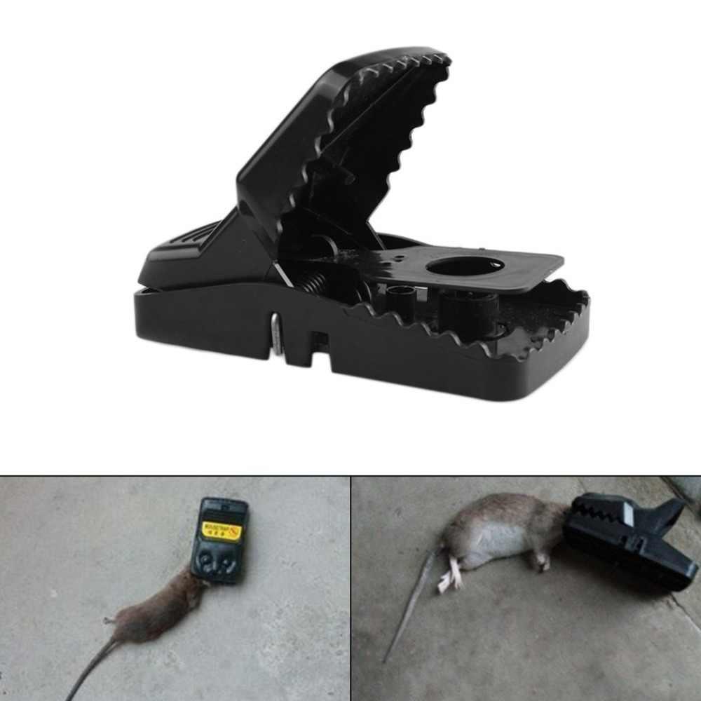 Durable alta resistencia plástico ratón trampa hogar jardín reutilizable captura ratón trampa Catcher suministros negro